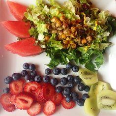 """❤️ #lunch #nomnom #salad #fruits #strawberries #blueberries #kiwi #watermelon #spinach #kale #beans #yummy #yummylunch #greens #healthy #healthy2014…"""