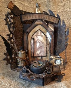 Steampunk-styled altered bookends