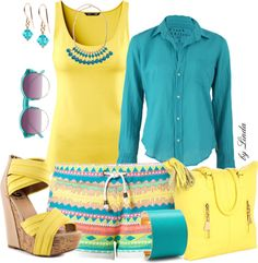 """Fun in the Summer - Torquoise & Yellow"" by lindakol on Polyvore"