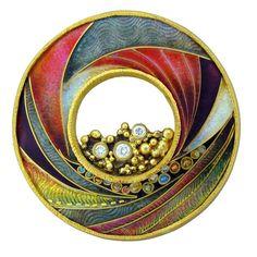Gold Cloissonne Enamel Diamond Brooch Pendant