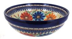 Autumn Burst Medium Serving Bowl - Blue Rose Polish Pottery Polish Pottery, Serving Bowls, Stoneware, Ceramics, Autumn, Medium, Tableware, Dishes, Rose