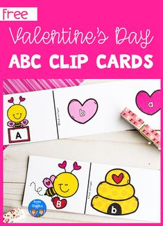 Preschoolers can practice letter recognition and fine motor skills with these fun ABC clip cards Valentine Activities, Alphabet Activities, Literacy Activities, Valentine Crafts, Activities For Kids, Nursery Ryhmes, Das Abc, Abc Cards, Valentine's Day Crafts For Kids