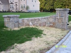 Stone Pillars for Driveway design Entrance, maybe in gabion instead Front Gates, Entrance Gates, House Entrance, Front Entry, Entrance Ideas, Brick Columns, Stone Pillars, Brick And Stone, Stone Work