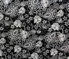 Baumwolle Paisley schwarz
