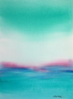 """Turquoise Seascape"" is an Abstract Original Painting by Laura Trevey. Splashes of seafoam green, turquoise and aqua, with a pop of pink!"