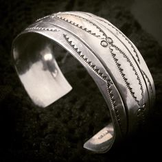 """Vintage Navajo Sterling Silver Hand Stamped Cuff Bracelet... Inner Circumference - 7"""" sugardrawers.etsy.com"""