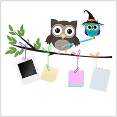 ca24601e331  8.99 - Amaonm Removable Colorful Cute Cartoon Owls On the Tree Branches  Stationery Notes Wall Decals
