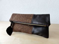 Leather Clutch in Dark Brown Italian Leather and European Wool $69.00, via Etsy.