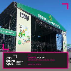 Impresión e instalación de lonas de gran formato sobre los escenarios, así como cartelería y señalización de los diferentes recintos del festival SOS 4.8.