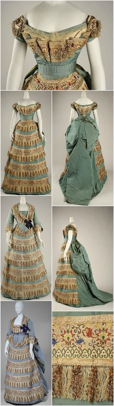 Ball gown, by Charles Frederick Worth, c. 1872, at the Metropolitan Museum of Art. Worn by Mrs. William De Forest Manice at the French and English courts during the reigns of Napoleon III and Queen Victoria. When worn on such occasions, the dress had a detachable brocade train, since destroyed. According to the Met, the decorative panels / trimmings are an emulation of Middle Eastern enamels. CLICK THROUGH FOR BIGGER IMAGES.