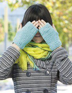 Tiffany Blue Fingerless Mitts | AllFreeKnitting.com