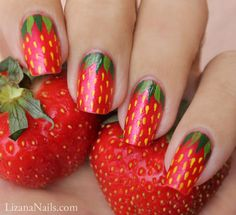 Stunning Fruit Nail Art Ideas That Refresh Your Summer 17 - Fashion trends change from time to time and there is no end to the innovative nail art designs and accessories that are used to beautify nails. Nail Art Designs, Fruit Nail Designs, Nail Polish Designs, Polish Nails, Nails Design, Nail Swag, Fancy Nails, Trendy Nails, Diy Nails
