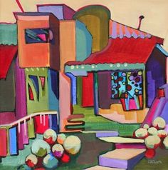Daily Painting New House on the Block contemporary abstracted building, painting by artist Carolee Clark