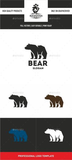 Bear Logo by naqqosh This logo design for all creative business. Logo Template Features AI and EPS CMYK 100 Scalable Vector Files Easy to edit colo