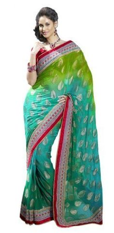 Saree is the traditional outfit of women in India and the Indian subcontinent. Measuring about 5 to 9 yards in length, saree is draped around the lower body & over the shoulder. Offered by #trivenisarees on Bonanza