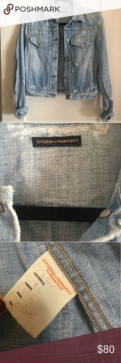 Citizens of Humanity denim jacket This is a very soft denim, like new condition. Great jacket for adding patchwork and pins or just having a classic denim jacket. Citizens of Humanity Jackets & Coats Jean Jackets