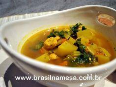 Sopa Emagrecedora de Frango, Batata-doce, Cenoura e Gengibre Healthy Recepies, Healthy Soup, Polenta, Comidas Light, Dietas Detox, Menu Dieta, Light Diet, Pasta, Carne