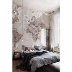 Neutral Shades World Map Wallpaper Mural ❤ liked on Polyvore featuring home, home decor, wallpaper, retro wallpaper, map wallpaper, map home decor, retro home decor and neutral wallpaper