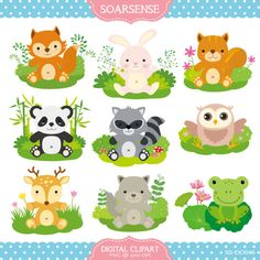 Baby Woodland Animals Clipart by soarsense on Etsy, $5.00