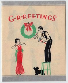 Vintage Greeting Card Christmas Art Deco 1920s 1930s People Scotty Dog e158