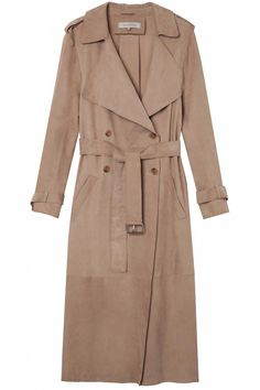 Suede is undeniably the most popular fabrications for the season—don't forget to get yours waterproofed before those April showers hit. Gerard Darel trench coat, $988, gerarddarel.com.   - HarpersBAZAAR.com