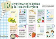 10 recomendaciones básica de la dieta mediterránea #infografia #infographic #health vía: http://www.huffingtonpost.es/2014/06/17/claves-dieta-mediterranea_n_5502273.html?utm_hp_ref=spain&ir=Spain
