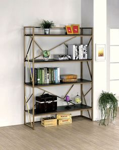 Furniture of America bookcase 4 open shelves and side angular accents constructed of sturdy metal in champagne finish Modern Bookshelf, Bookcase Shelves, Display Shelves, Bookcases, Gold Shelves, Bookshelf Ideas, Etagere Bookcase, Display Case, Storage Shelves
