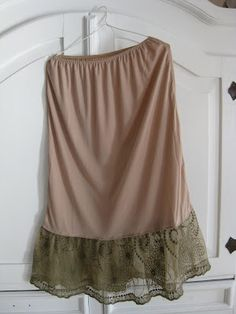 Skirt Extender: sew a ruffle of lace onto the bottom of a slip...Love the brown lace