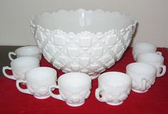 First time I've seen this...Punch Bowl & 8 cups in Old Quilt. Sold for $201.50 at antiquesnavigator.com, 9/5/15 Fenton Milk Glass, Westmoreland Glass, Punch Bowl Set, Old Quilts, Vintage Party, Glass Collection, Vintage Glassware, Stores, Candlesticks