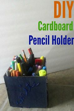DIY Cardboard pencil holder craft. Back to school gift for teachers or organizational tool for at home!