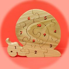 Snail Count-To-Ten puzzle -  A Fun Wood Puzzle Game - Educational - Hand Made - Child Safe. $21.95, via Etsy.