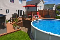 Pool deck and patio ideas images. We specialise in pool deck and patio installation. Above Ground Pool Landscaping, Above Ground Pool Decks, In Ground Pools, Deck Landscaping, Backyard Pool Designs, Patio Design, Backyard Patio, Backyard Ideas, Flagstone Patio