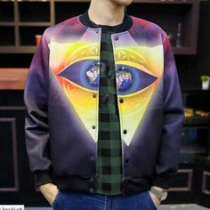 e34038af25da Cool earth eye baseball jacket for men casual geometric plus size jackets