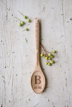 "These trendy designer wooden spoons are beautiful enough to be displayed, and perfect for serving purposes. Each 12"" spoon is laser engraved and personalized with a vintage design, read below for deta"