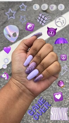 Semi-permanent varnish, false nails, patches: which manicure to choose? - My Nails Purple Acrylic Nails, Summer Acrylic Nails, Best Acrylic Nails, Acrylic Nail Designs, Summer Nails, Neon Purple Nails, Spring Nail Art, Orange Nails, Winter Nails