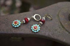 Turquoise Rhinestone Flower Earrings with by practicallyfrivolous