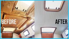 In this vlog we finally get the new headliner in the salon area of our sailboat. We used a tongue and groove style vinyl beadboard found at Home Depot. Liveaboard Sailboat, Liveaboard Boats, Boot Dekor, Cabin Cruiser Boat, Sailboat Interior, Diy Yacht Interior, Sailboat Decor, Sailboat Restoration, Sailboat Living