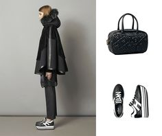 #HOGAN H283 Maxi Platform sneakers and quilted Bowling bag for an avant-garde look.