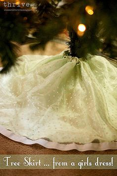 Make a Christmas tree skirt from a girls dress in 10 minutes flat...great idea