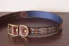 Custom Leather Blue/Yellow Dog Collar. Navajo Navy 1 by sucushop
