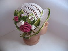 Hat Brim in White with Roses Flowers Crochet baby by ninellfux, $67.00