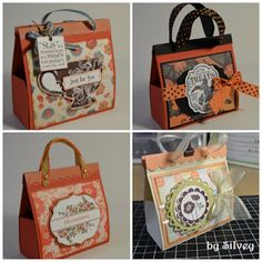 """3D Mini Bags made from 8.5 x 11 cardstock and no cutting.  Just folding.  I'm so going to go make one of these right now.  I did figure out when you click the """"Mini Bag Tutorial"""" link that they have, that you must click on their photos in that to see the measurements."""