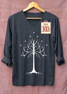 White Tree of Gondor Shirt The Rise of Mordor Shirts Long Sleeve Unisex Adults Size S M L