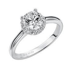 ARTCARVED Side Stone White Gold Diamond Engagement Ring 31-V325ERW-E