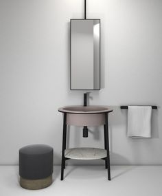 Catino bathroom collection by CIELO made up of a ceramic washbasin in the Cipria finish, white Carrara marble top, and steel structure with a matte black finish. Catino's design takes inspiration from the past to give a modern interpretation of one of the most iconic bathroom furnishing pieces of the early 20th century. Design by Andrea Parisio and Giuseppe Pezzano. #bathroomdesign #ceramic #interiordesign #HandMadeinItaly #Inspiration