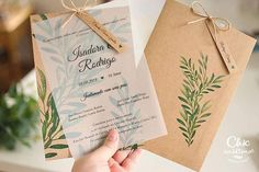 Rosemary – Invitation with envelope - Hochzeit Brown Wedding Invitations, Rustic Invitations, Wedding Invitation Cards, Wedding Cards, Invites, Wedding Prep, Diy Wedding, Wedding Planning, Wedding Day