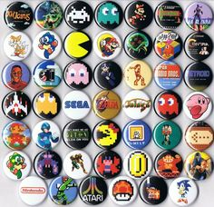 huge lot video game party favor pins buttons badges retro wholesale bulk 80s 90s