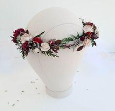 Beige burgundy flower crown greenery Bridal floral crown | Etsy Floral Wedding, Rustic Wedding, Wedding Flowers, Rustic Flowers, Dried Flowers, Flower Headpiece Wedding, Burgundy Flowers, Floral Crown, Christmas Wedding