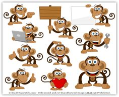 cute monkey cartoon - Google Search