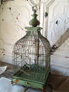Garden Metal Birdcage In Grey Wash Effect Wedding Decor Hedwig Cage Home